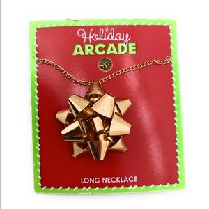 NEW Holiday Christmas Present Gold Bow necklace